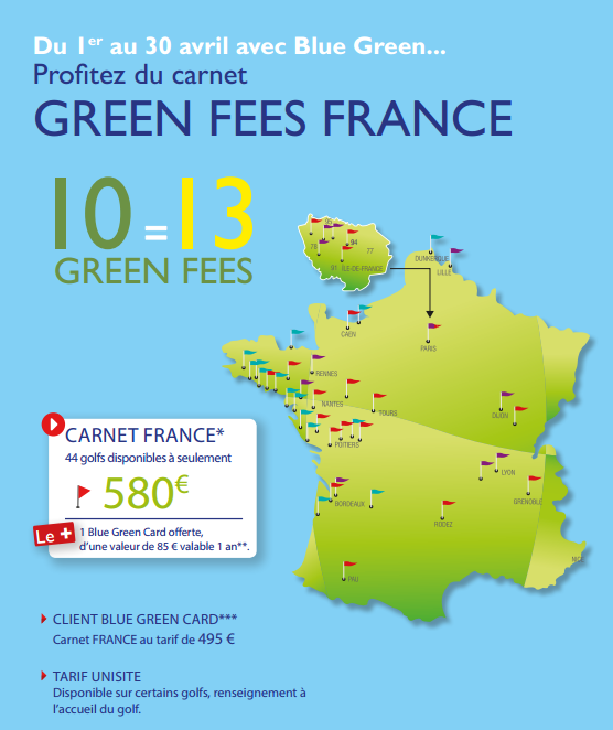 Carnet de 10 green fees + 3 offerts + Blue Green Card gratuite